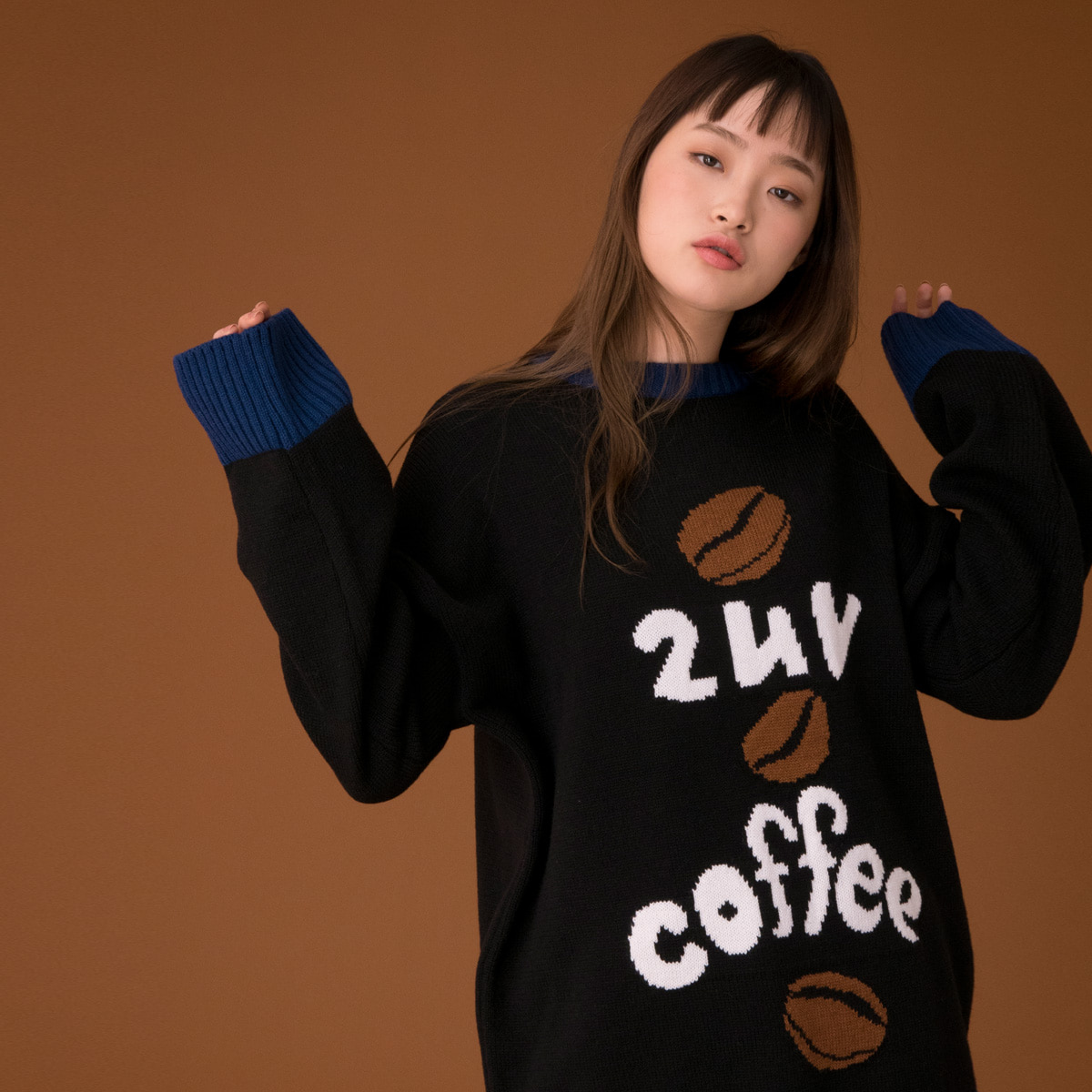 (UNISEX)CE COFFEE KNIT_BK