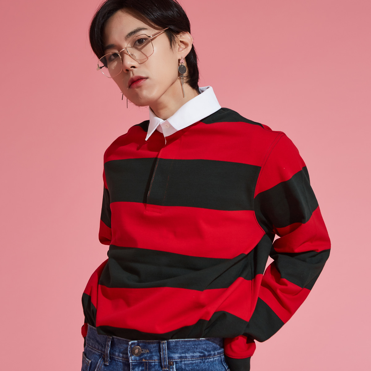 (UNISEX)LIT RUGBY STRIPE (RED)
