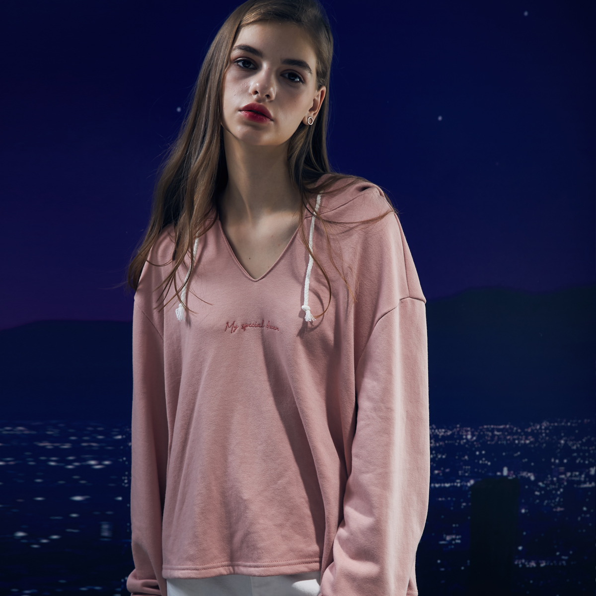 DS V-NECK HOODY (PINK)