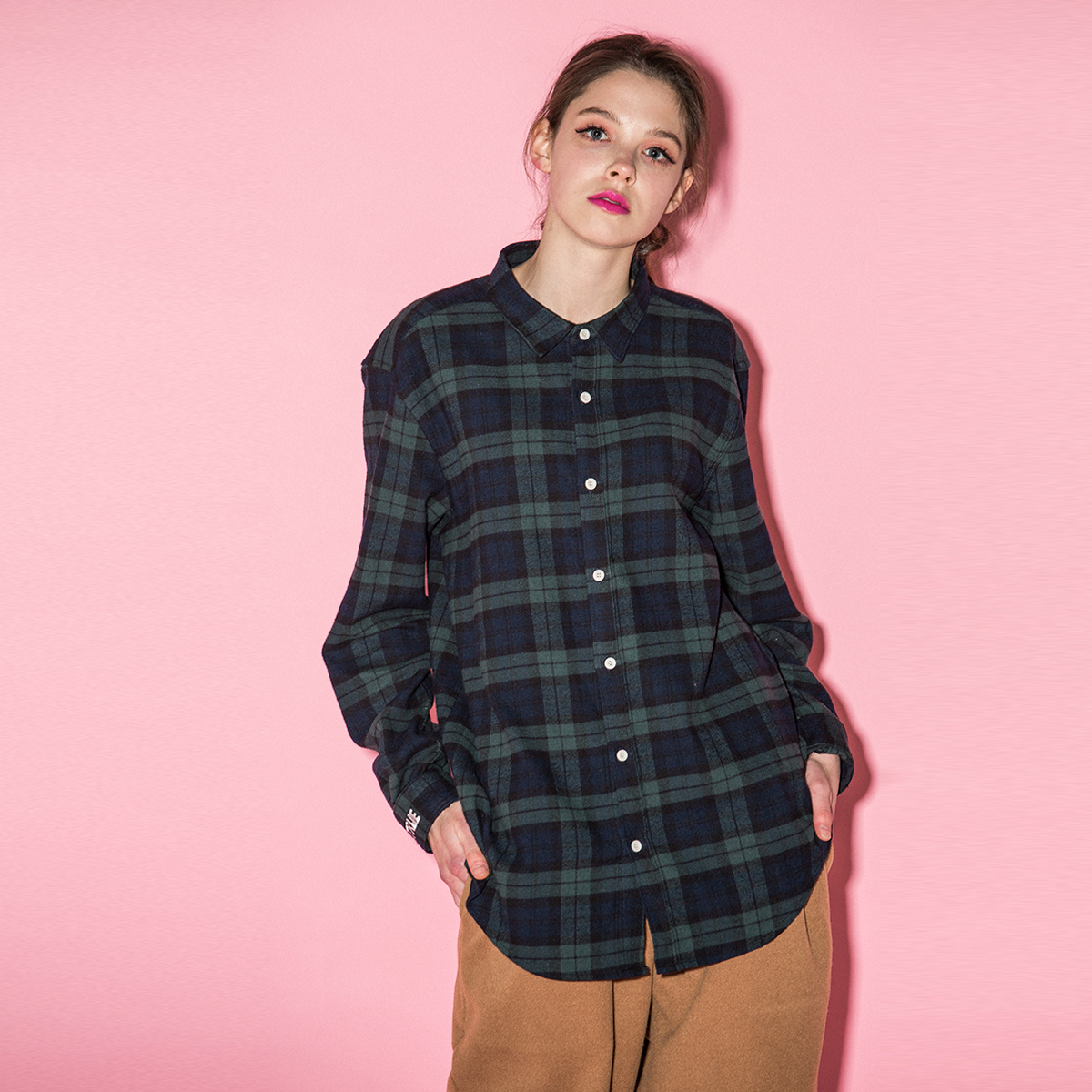 (UNISEX)BU CHECK SHIRTS_GN