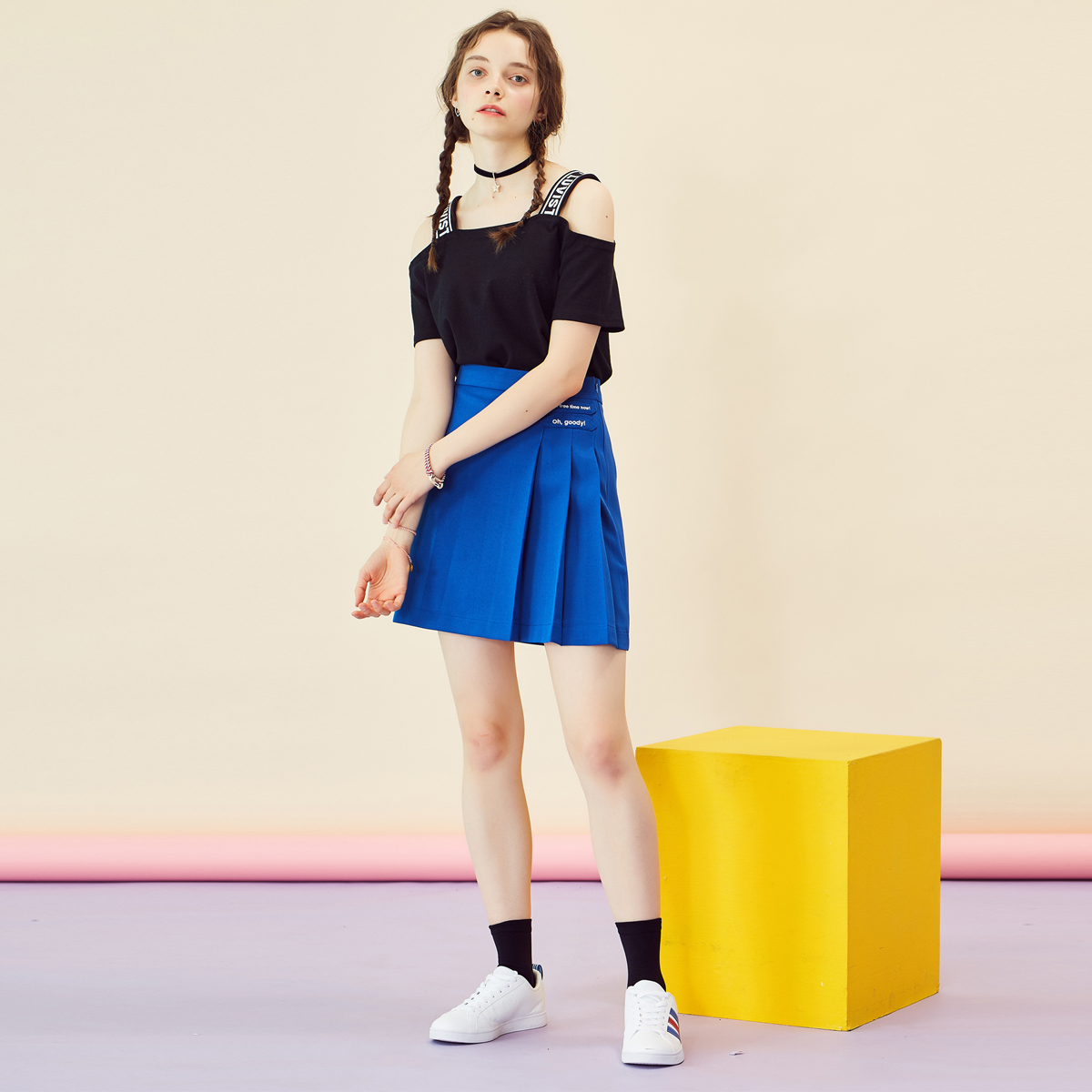 RE TWO PLEATS SKIRT(BLUE)