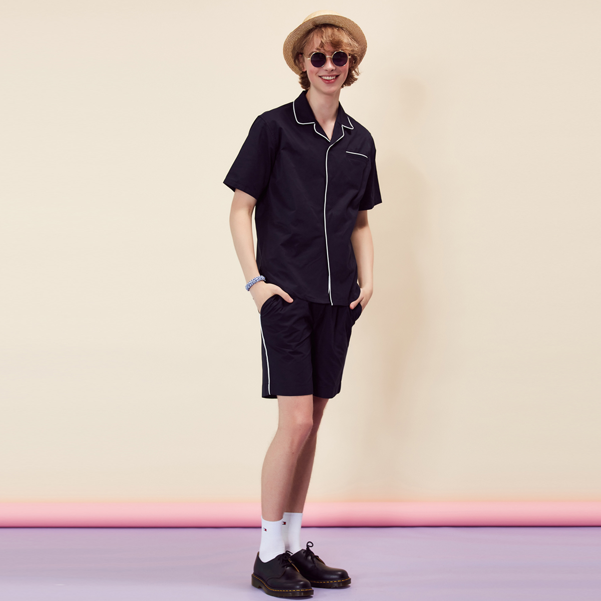 (UNISEX)RE PIPING SHORTS(NAVY)
