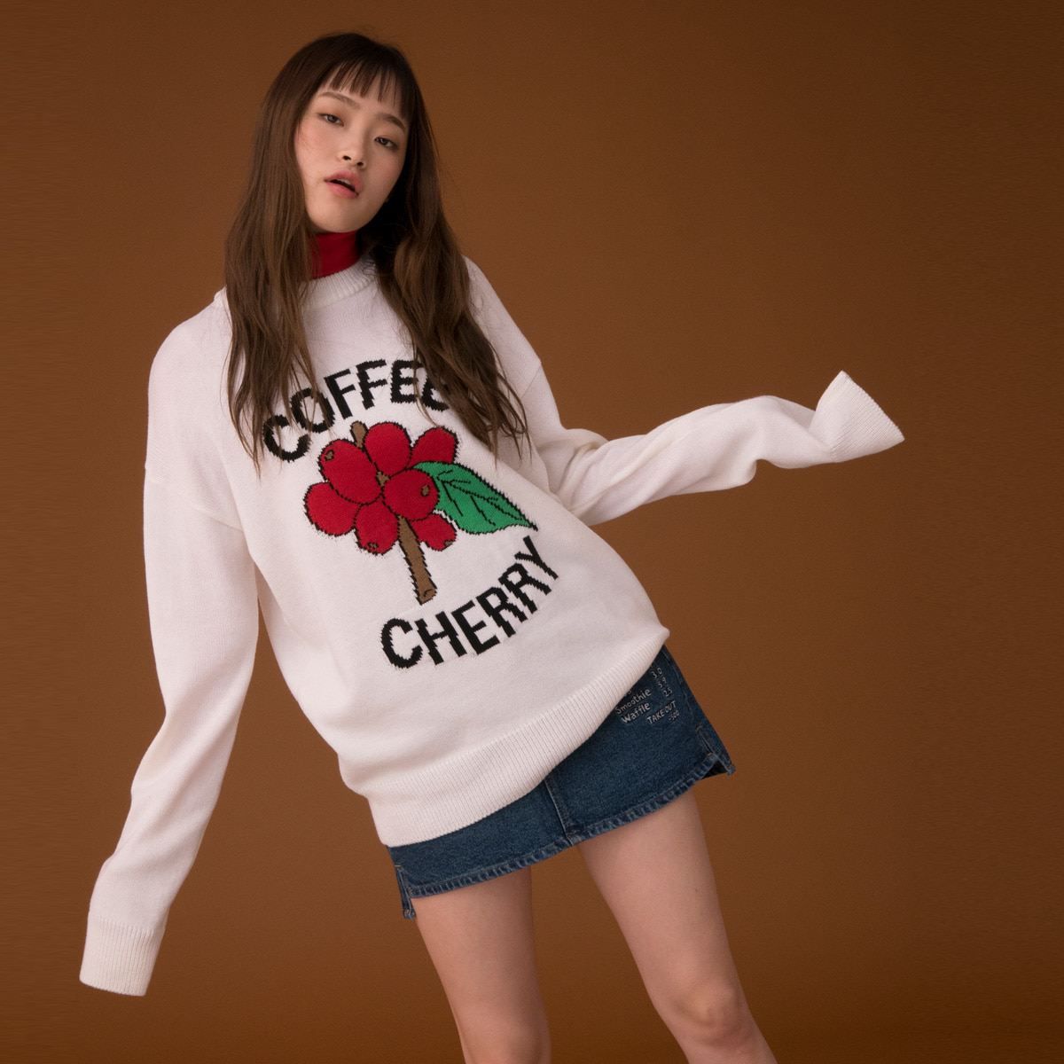 (UNISEX)CE CHERRY KNIT_WH