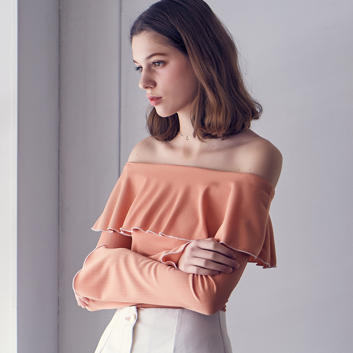 LS RUFFLE OFFSHOULDER(ORANGE)