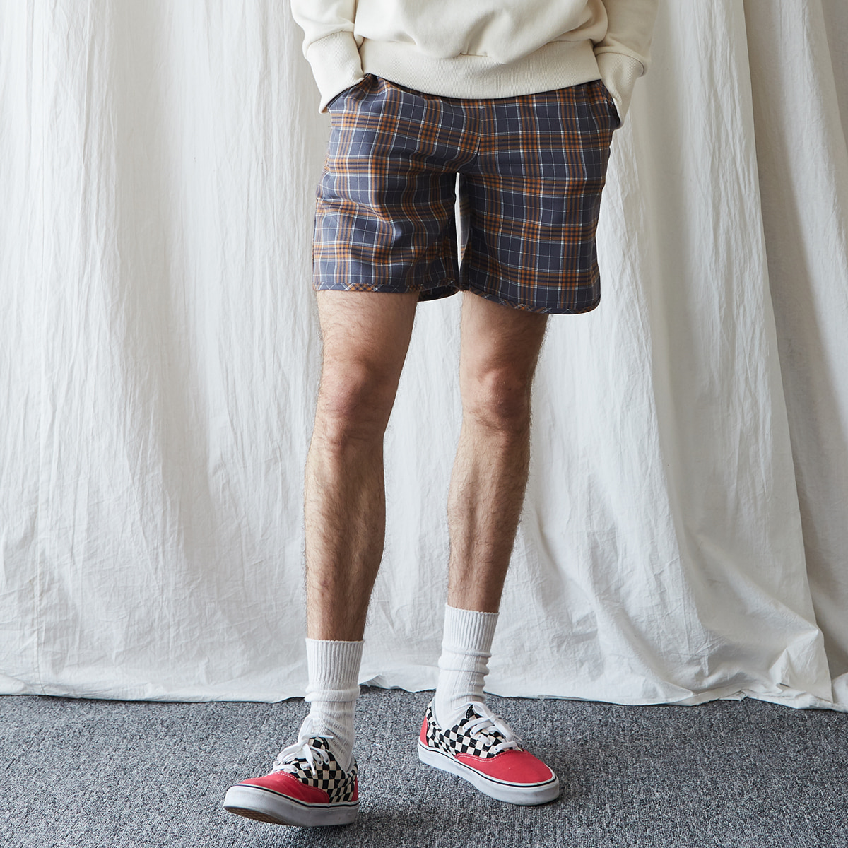 (UNISEX)MA CHECK PANTS(GRAY)