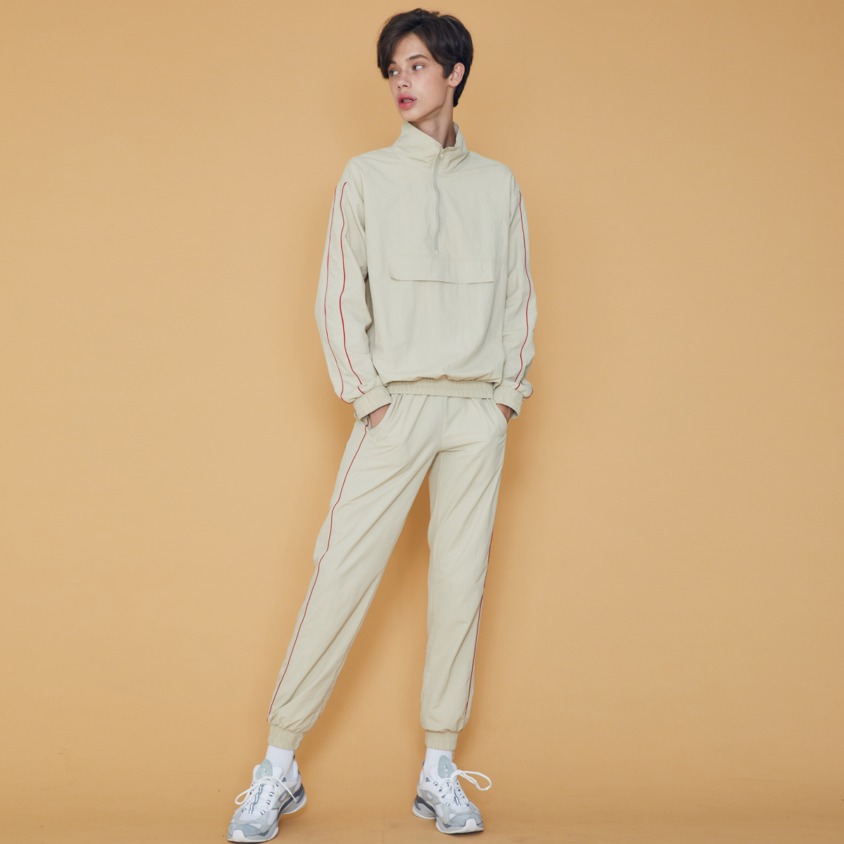 (UNISEX)DS PIPING PANTS(BEIGE)