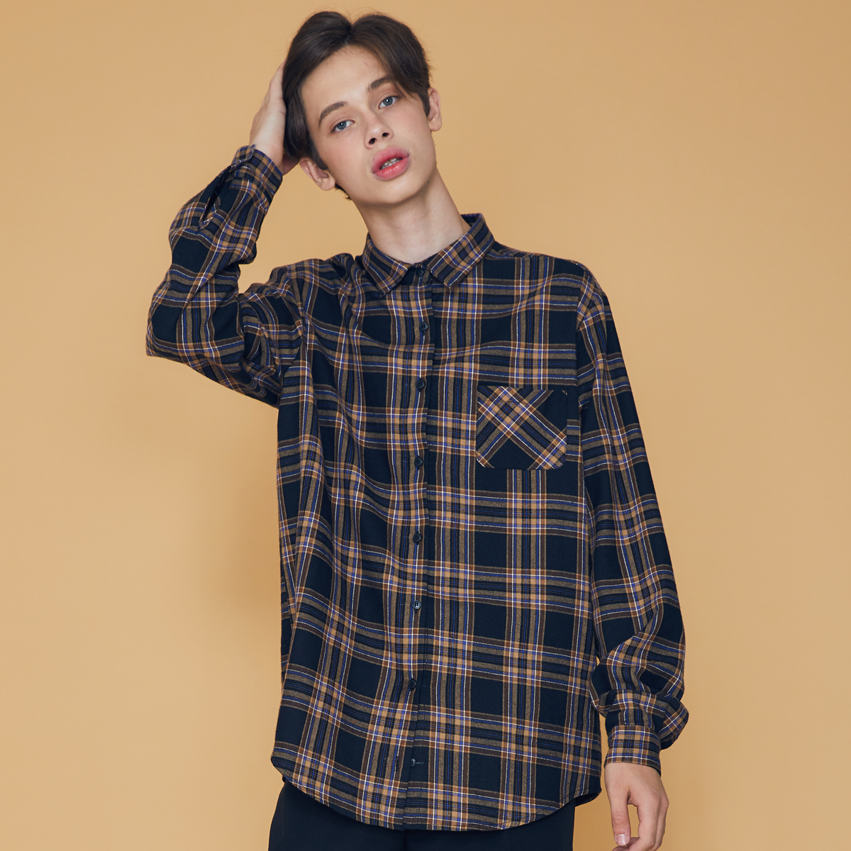 (UNISEX)DS CHECK SHIRT(BLACK)