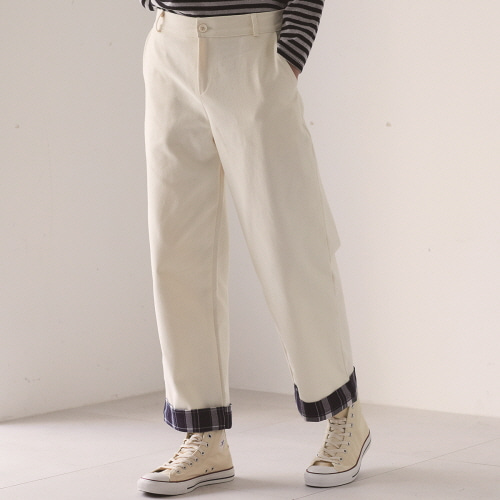 (UNISEX)MO ROLL-UP PANTS(IVORY)